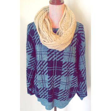 Vintage Slouchy Plaid Sweater