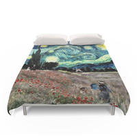 Society6 Monet s Poppies With Van Gogh s Starry Night Duvet Cover
