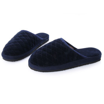 Fall Winter Hot Sale Cotton-padded Home House Floor Slipper Women Men Lover Knit Plaid Warm Plush Slippers Mujer Pantufas Shoe