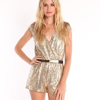 WRAP FRONT SEQUIN ROMPER - GOLD