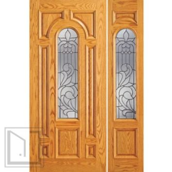 Pre-hung Mahogany Center Arch Lite Entry Door with One Sidelite