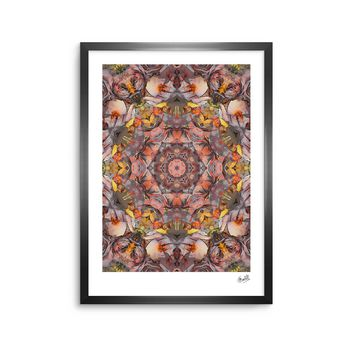 "Justyna Jaszke ""Mandala Peace"" Brown Yellow Abstract Pattern Digital Mixed Media Framed Art Print"