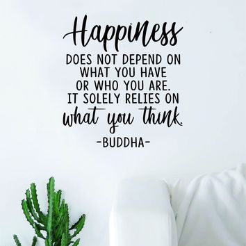 Buddha Happiness v3 Quote Decal Sticker Wall Vinyl Art Decor Bedroom Living Room Namaste Yoga Mandala Om Meditate Zen Lotus Inspirational Soul Love Peace