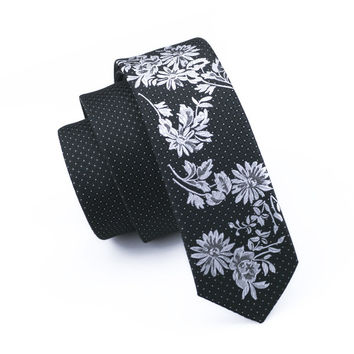 Mens Ties Silk Skinny Ties For Men Narrow Gravata Slim Tie Floral Black Necktie