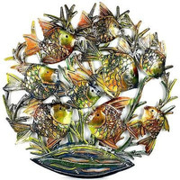 24-Inch Painted School of Fish Metal Wall Art - Croix des Bouquets