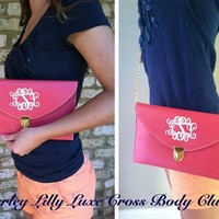 Monogrammed Coral Salmon Luxe Cross Body Clutch