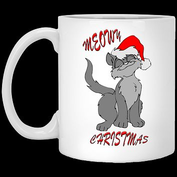 Christmas Gifts Meowy Cat Christmas Mug 11 oz White Ceramic Cup