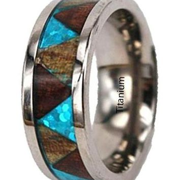 CERTIFIED 8mm Titanium Koa Ring with Blue Triangle Pattern Tribal Hawaiian