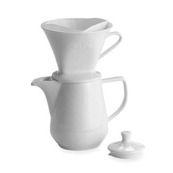 Porcelain Pour-Over Coffee Brewer Cone with Carafe