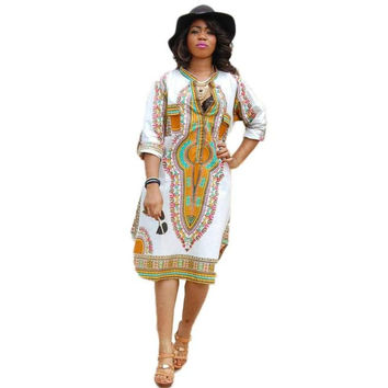 African Dashiki Print Summer Mini Dress (XXL,XXXL)
