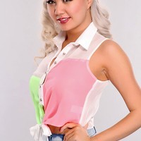 Lime Pink Color Block Button Up Sleeveless Top