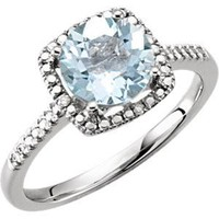 Sterling Silver Aquamarine & .01 CTW Diamond Halo-Style Ring