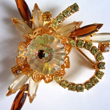 JULIANA Margarita Rhinestone Navettes Brooch, Jonquil Yellow & Brown, Verified, Vintage