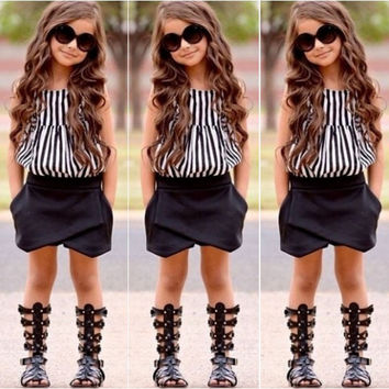 Girls Summer Striped Tops Blouse Black Bloomers Shorts Outfits set