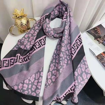 FENDI 2018 new classic double F letter printing winter warm long scarf