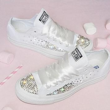 Customised Crystal White Low Top All Star Converse Canvas Blinged Crystal Sides & Toes