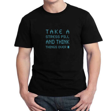 Hal 9000 Take A Stress Pill and Think Mens T-shirt Black and White