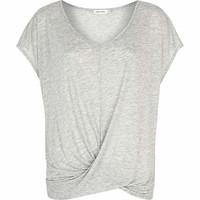 Grey drape front t-shirt - plain t-shirts / vests - t shirts / vests / sweats - women