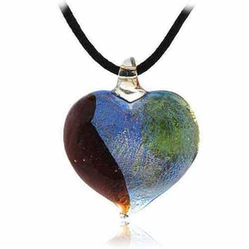Murano Glass Silver Color Red Light Green Dark Blue Glitter Heart Silk Pendant Necklace