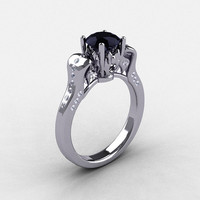 14K White Gold Black Diamond Wedding Ring, Engagement Ring NN101-14KWGDBD