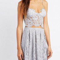 Floral Lace Triangle Crop Top