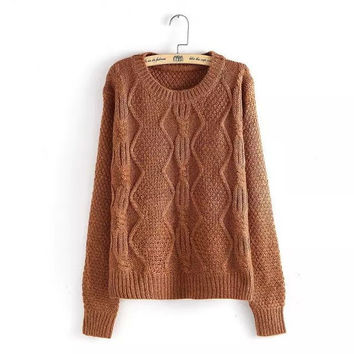 Knitted Geometric Pattern Long Sleeve Pullover Sweater