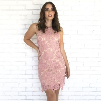 Carpe Diem Crochet Dress in Pink