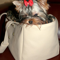 Pure Elegance Italian Beige Faux Leather and Leopard Faux Fur Dog Carrier