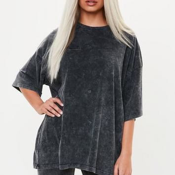 Missguided - Gray Drop Shoulder Oversized Washed Top