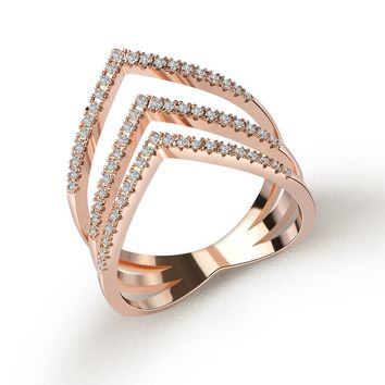 Rose Gold C CZ Zirconia Heart Shaped Rings for Women Wedding Fashion Jewelry Engagement Jewellery 2017 Mothers Day Gift