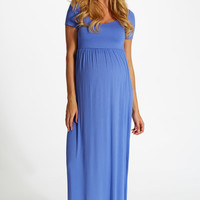 Periwinkle Solid Short Sleeve Maternity Maxi Dress