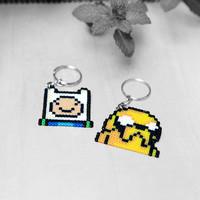 Adventure Time inspired Keychain. Finn or Jake Keyring. Pin/Brooch Optional