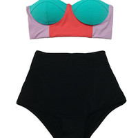 Colorblock Color Block Mint Red Lavender Top and Black High waisted Highwaist Shorts Vintage Swimsuit Bikini Swim Swimming Bathing suit S M
