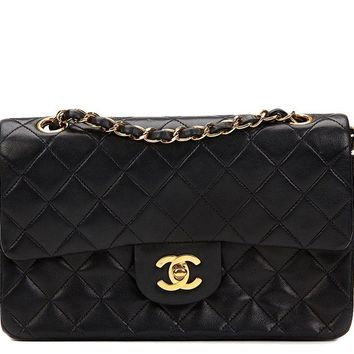 CHANEL BLACK QUILTED LAMBSKIN VINTAGE SMALL CLASSIC DOUBLE FLAP BAG HB824