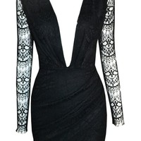 Black Deep V Neck Cut Out Zippered Back Lace BodyCon Dress