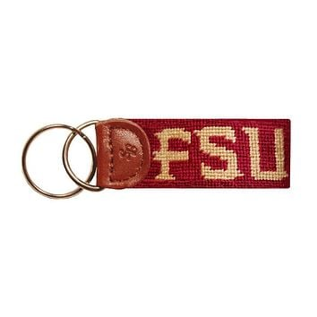 Florida State University Needlepoint Key Fob in Garnet by Smathers & Branson