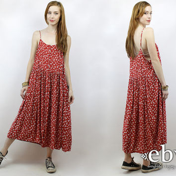 Vintage 90s Red Floral Maxi Dress XL 1X Soft Grunge Dress Red Dress Red Floral Dress 90s Floral Dress Plus Size Dress Plus Size Vintage