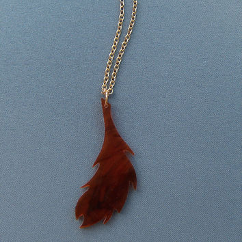 Handcut Brown Feather Necklace
