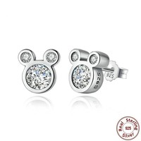 Dazzling Mickey Mouse Sterling Silver Stud Earrings for Women