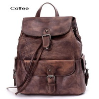 Stylish women's distressed leather backpacks satchel