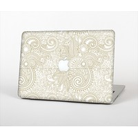 The Tan & White Vintage Floral Pattern Skin Set for the Apple MacBook Pro 13""