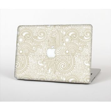 The Tan & White Vintage Floral Pattern Skin Set for the Apple MacBook Pro 15""