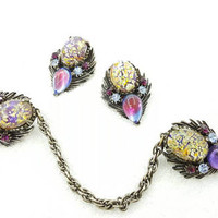 Florenza Foil Glass Sweater Guard and clip earrings Colorful Vintage