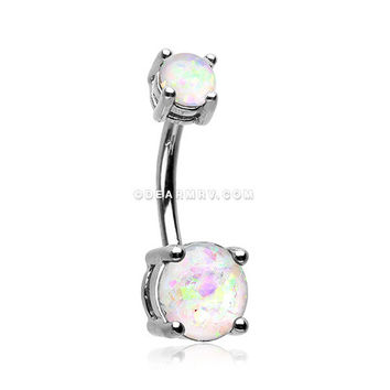 Opal Sparkle Prong Set Belly Button Ring (White)