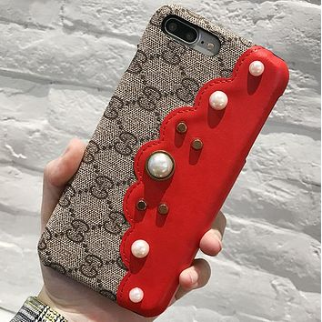 GUCCI Tide brand color matching pearl iPhone 8 leather phone case cover Red
