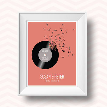 Romantic art, couples gift, our song, song lyrics, record player, favourite song art, love art, personalised, personalised romantic gift,