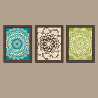 Peacock Wall Art Bedroom Artwork Flower Turquoise Brown Lime Green Radial Sun Burst Doilies Tribal  Set of 3 Prints Decor Bathroom Three