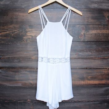 final sale - gauzy bohemian dream lace accent romper in white