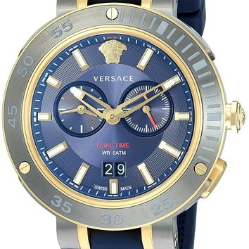 Versace Men's 'V-EXTREME PRO' Swiss Quartz Stainless Steel and Silicone Casual Watch, Color:Blue (Model: VCN010017)