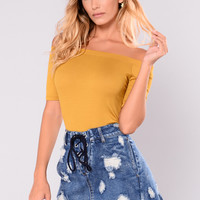 Avery Off Shoulder Bodysuit - Dark Mustard